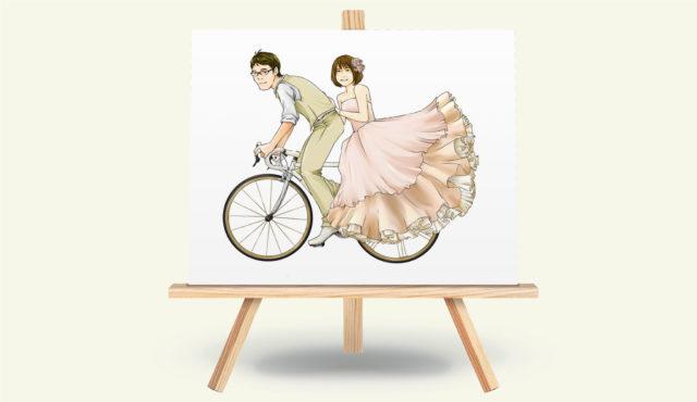 結婚式ウェルカムボード用イラストロードバイク好きのご夫婦のためのイラスト